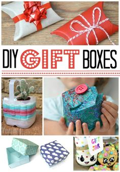 Red Ted Art shares some DIY gift box deas.A homemade gift box can really add certain something to your gift.Or maybe your gift is an awkward shape or real. Homemade Gift Boxes, Creative Homemade Gifts, Diy Gift Box, Easy Diy Gifts, Handmade Gifts, Family Crafts, Crafts For Kids, Family Christmas, Christmas Crafts