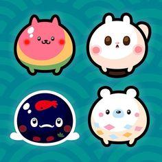 まるけもの 和菓子動物part1 Round animals Wagashi part1 #illustration #illustagram #art #artwork #絵 #イラスト #和菓子 #food #sweets #animals