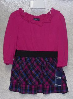 Chaps Infant Girls Dress set 2 pc Long Sleeves pink multi cotton size 18M NEW  12.99 free us shipping http://www.ebay.com/itm/-/252566179923?