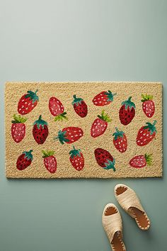 Anthropologie Strawberries Doormat