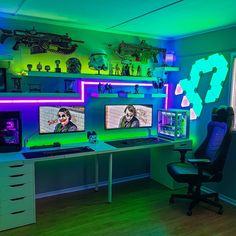 Bedroom Gaming Setup, Computer Gaming Room, Best Gaming Setup, Computer Setup, Cool Gaming Setups, Gaming Rooms, 2 Person Gaming Desk, Gaming Desk Setup Ideas, Computer Technology