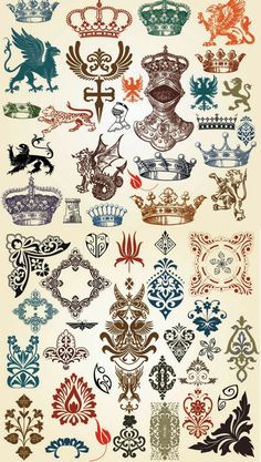 European Classic Pattern Totem Vector European-style Lace Crown vector file for free Classic Pattern, Ideas Para Logos, Petit Tattoo, Decoupage, European Fashion, European Style, Etiquette Vintage, Motif Art Deco, Tattoo Style