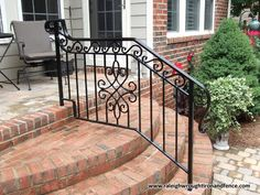Custom Wrought Iron Residential Railings Raleigh Wrought Iron Co. Wrought Iron Porch Railings, Porch Handrails, Cast Iron Railings, Outdoor Stair Railing, Front Porch Railings, Front Door Porch, Balcony Railing, Iron Balcony, Ranch Remodel