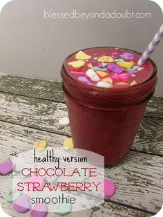Healthy chocolate strawberry smoothie recipe! My kids love it!