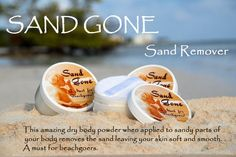 Sand Gone is a dry body powder that instantly removes sand from your body. It's easy to carry, easy to apply, and let me tell you it works! I was sent a Sand Gone Family Size jar with a bag of sand to use to try out the product. As you can see from below, you simply apply the Sand Gone using the