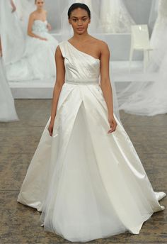 Monique Lhuillier Spring 2015 Wedding Dresses   TheKnot.com   One Shoulder Silk Satin A-Line Wedding Gown Featuring A Beautiful Pleated Bodice, & Soft Silk Tulle Underlay·····