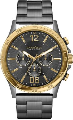 Caravelle New York by Bulova Men's Chronograph Gunmetal-Tone Stainless Steel Bracelet Watch 44mm 45A119