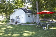 The Cameron's new exterior. One of our two bedroom cottages overlooking Upper Chemong Lake Two Bedroom, Cottages, Shed, Exterior, Outdoor Structures, Outdoor Decor, Home Decor, Homemade Home Decor, Cabins