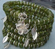 Multi strand Bracelet, Memory Wire Bracelet, Coiled Bracelet, Wrap Bracelet, Peridot Bracelet, Gemstone, Sterling Silver Charm Bracelet