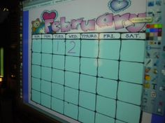 calendar on Promethean board