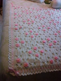 pink lace - #crochet_blanket