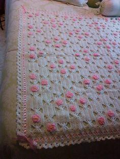 pink lace - #crochet blanket