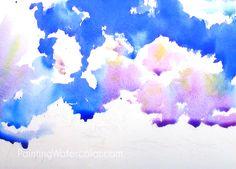 Blue Sky Sketching Watercolor Painting Tutorial Watercolor Art Landscape, Watercolor Art Lessons, Watercolor Art Diy, Watercolor Sunset, Watercolor Painting Techniques, Watercolor Art Paintings, Sketch Painting, Watercolour Tutorials, Art Videos For Kids