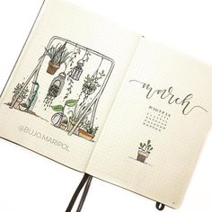 Bullet journal monthly cover page, March cover page, hand lettering, potted plants drawings. | @bujo.maripol bullet journal ideas layout March Bullet Journal, Bullet Journal Monthly Spread, Bullet Journal Cover Page, Bullet Journal Notebook, Bullet Journal Layout, Bullet Journal Inspiration, Bullet Journals, Journal Ideas, Photo Tag