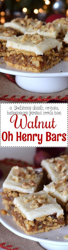 Walnut Oh Henry Bars - A caramel, walnut, and coconut filling, sandwiched between graham crackers, and topped with a simple buttercream frosting.  Walnut Oh Henry Bars are a deliciously classic Newfoundland Christmastime recipe.