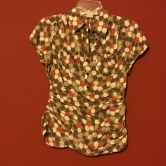Michael Kors 2P Brown White Orange Polka Dot Ruched Silk Blouse Short PXS PS
