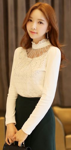 StyleOnme_Frill High Neck Cubic and Lace Detail Fleece-lined Blouse Tee #white #lace #cubic #highneck #seethrough #blouse #elegant #feminine #pretty #formal #girlish #koreanfashion #seoul #kstyle #kfashion #wintertrend