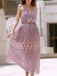 Lace Spliced Halter Maxi Dress COFFEE: Maxi Dresses | ZAFUL