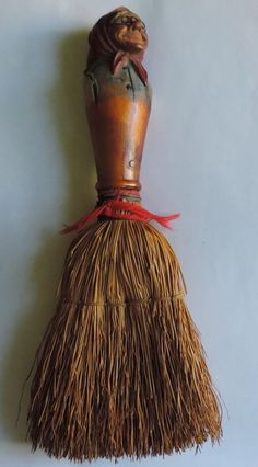 Swiss German Black Forest Carved Wood Paint Decorated Whisk Broom Old Lady Hag #BlackForest #BlackForest