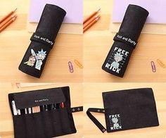 Rick And Morty Canvas Roll Pencil Case Student Pencil Box Anime Make-Up Bag Gift