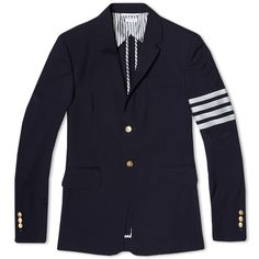 Thom Browne Arm Stripe 2 Button Wool Jacket (Navy)
