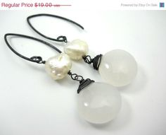 50 OFF SALE Druzy pearl and white agate earrings by jennleedesign, $9.50