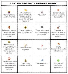 BINGO Card for use whilst watching the Emergency Climate Change Debate in the Parliament of Canada Debate Bingo, Parliament Of Canada, Climate Change Debate, Elizabeth May, Political System, Bingo Cards, Civil Rights, How To Become
