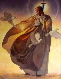 Stunning Painting of Saint Pope John Paul II, the great Catholic Art, Catholic Saints, Roman Catholic, Religious Images, Religious Art, Papa Juan Pablo Ii, Holy Art, Pope John Paul Ii, Paul 2