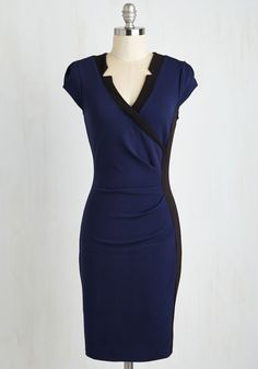 Notch Your Average Dress. All your friends will want to know where you found this distinctive, colorblocked sheath dress. #blue #modcloth