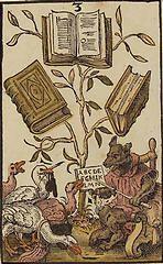'The Three of Books', coloured woodcut from Jost Amman's 'Charta lusoria...