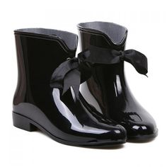 Sweet Solid Color and Ribbon Design Women's Rain Boots #shoes, #jewelry, #women, #men, #hats, #watches