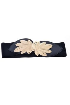 This waist belt crafted in PU, featuring metal leaf embellished to front with hook fastening, a wide-cut design, an elasticated insert to the reverse.$24