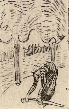 VINCENT VAN GOGH A Woman Picking Up a Stick in Front of Trees, 1890