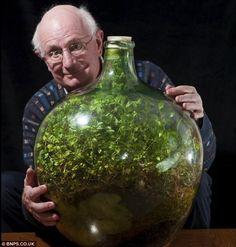 水やりは53年間で一度だけ。この男性が育ててきたボトル菜園が神秘的すぎる