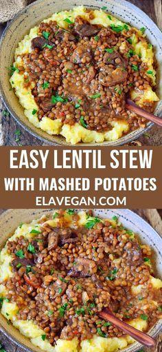 Vegan Dinner Recipes, Vegan Dinners, Veggie Recipes, Whole Food Recipes, Vegetarian Recipes, Healthy Recipes, Easy Lentil Recipes, Free Recipes, Soup Recipes