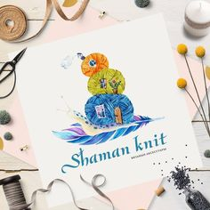 Watercolor logo #knitting #illustration