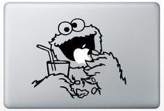 Macbook Funny Humor Decal Sticker Sesame Street Cockie Monster Eat Apple