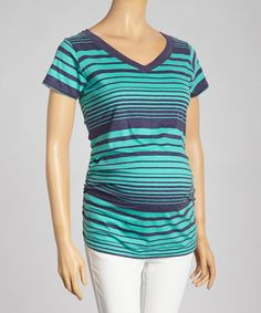 Another great find on #zulily! Navy & Emerald Stripe Maternity V-Neck Top - Women by Mom & Co. #zulilyfinds