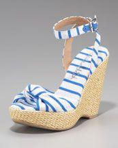 X16G6 Splendid Lustful Striped Espadrille Wedge Sandal