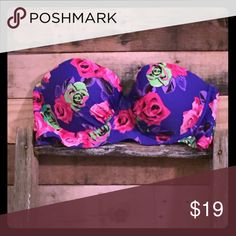 Betsy Johnson bathing suit top Royal blue with hot pink flowers top D Cup Swim Bikinis