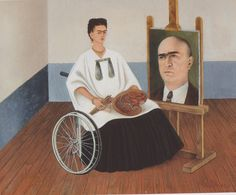 "jimlovesart: "" Frida Kahlo - Self-Portrait with the Portrait of Doctor Farill, 1951. """