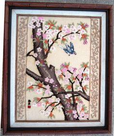 VTG Japanese Bunka Shishu painting w/ thread blue Bird happiness Cherry Blossom