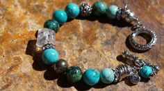 Natural Turquoise Crystal Quartz Pyrite and Bali by fleurdesignz