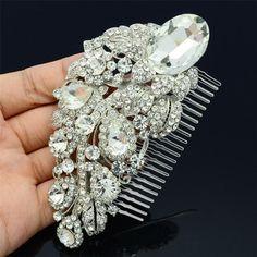 Vintage Silver Bridal Hair Comb Wedding Hair Comb by BrideGlamour, $35.00