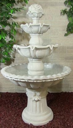 4 Tier White Outdoor Water Fountain.
