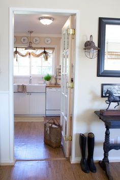 white kitchen, wood counter