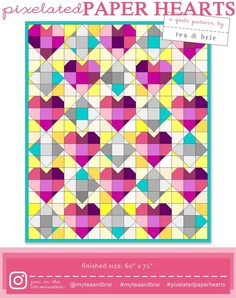 """It starts of sweet and is full of surprises, Pixelated Paper Hearts is an exciting quilt for the Adventurous beginner to Advanced quilter. By the end of the quilt you will have had plenty of practice in getting those """"perfect points! Beginner Quilt Patterns, Quilting For Beginners, Colorful Quilts, Paper Hearts, Barn Quilts, Heart Patterns, Pattern Blocks, Digital Pattern, Pattern Paper"""