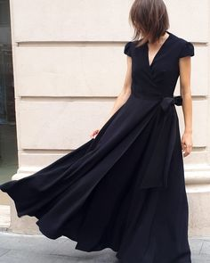 Party Outfits, Maxi Wrap Dress, Simple Lines, Happily Ever After, Formal Dresses, Black, Fashion, Dresses For Formal, Moda