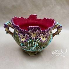 Decorative Arts Other Antique Ceramics Alert Plant Pot Shell Majolica Sarreguemines Slip Period 1880 On Legs
