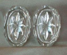 2 OVAL CUT GLASS Open Salt Cellars Dip Dish DIAMOND PATTERN